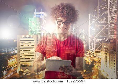 Creative man working in a metropolis