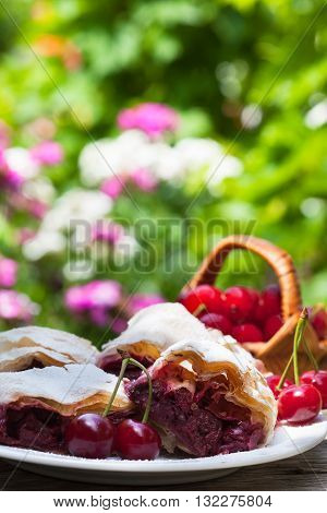 Cherry pie. Delicious fruit cake with sour cherries.