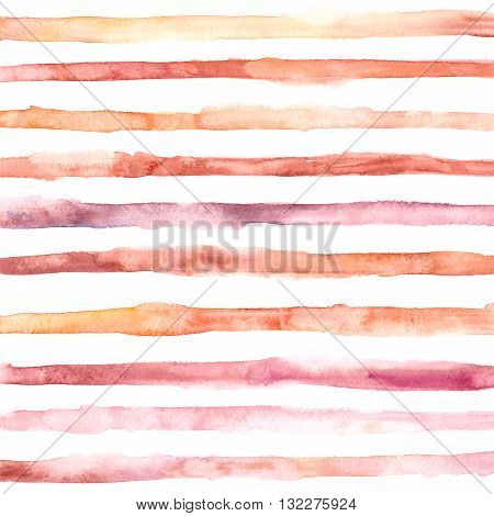 Hand drawn watercolor washed stripes. Square background with horisontal stripes. Summer sunny design in yellow orange purple pink colors.