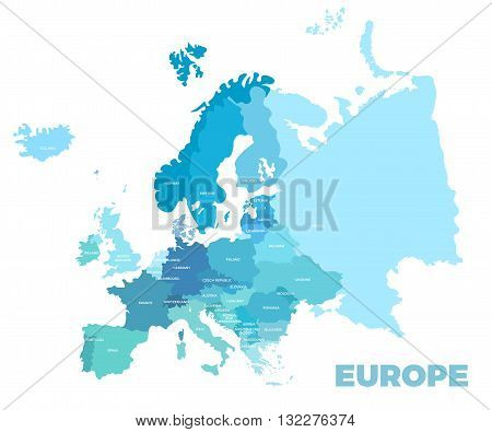 Europe modern detailed map. All european countries with names. Vector template of beautiful flat map design