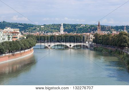 The bridge Ponte della Vittoria across the Adige river in Verona