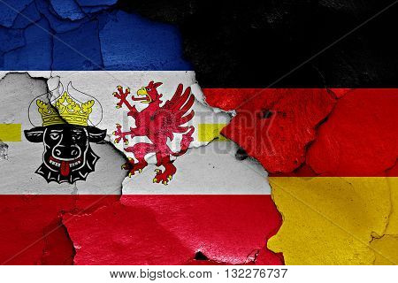 Flags Of Mecklenburg Vorpommern And Germany Painted On Cracked Wall