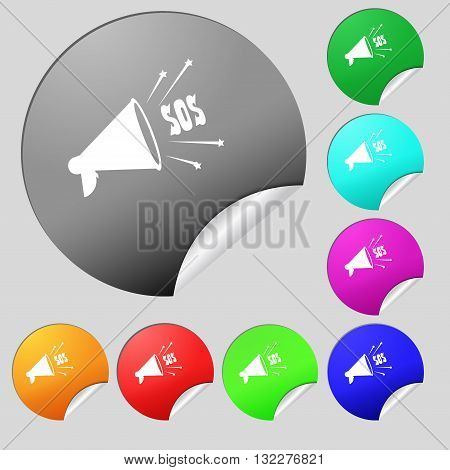 Sos Web Speaker Icon Sign. Set Of Eight Multi Colored Round Buttons, Stickers. Vector