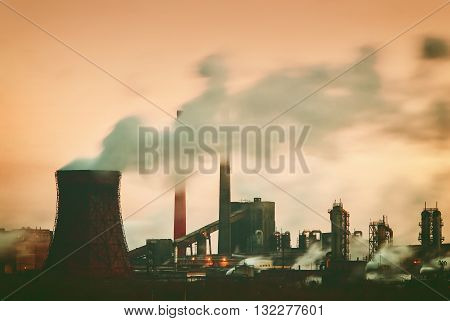 Industrial Landscape With Factory