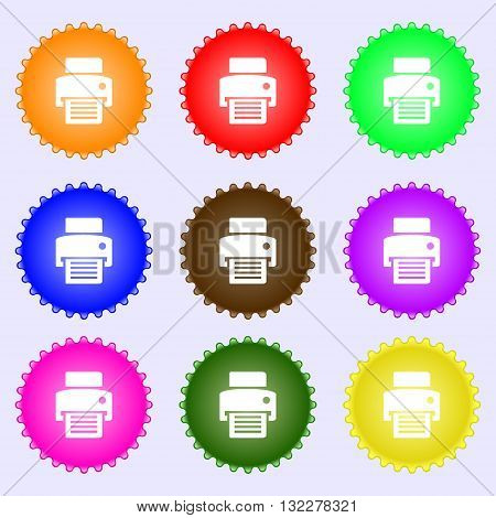 Fax, Printer Icon Sign. Big Set Of Colorful, Diverse, High-quality Buttons. Vector