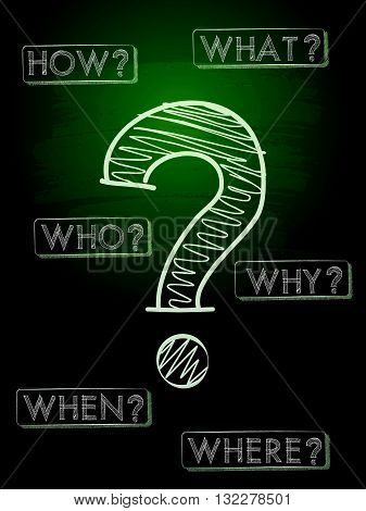 question sign and question words - white chalk text with symbol over green blackboard, business concept, vector