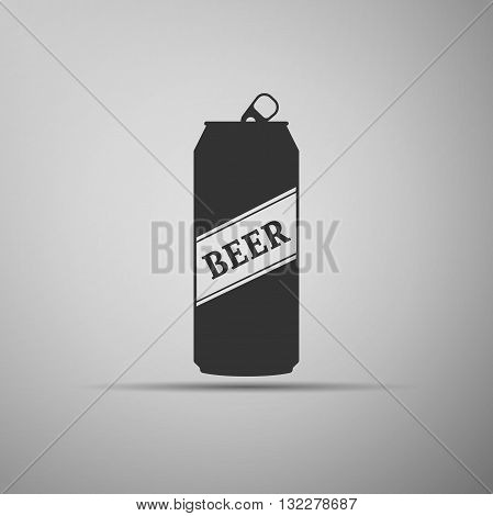 Beer Can Icon on gray background. Vector Illustration.