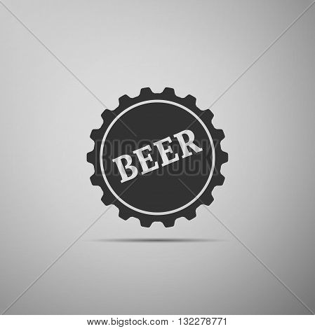 Beer bottle cup simple icon. Vector Illustration