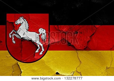 Flags Of Lower Saxony And Germany Painted On Cracked Wall