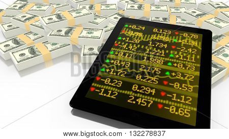 Tablet leaning on a pile of USD with a yellow stock ticker screen online trading 3D illustration