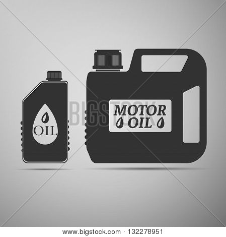 Blank plastic canister for motor oil icon on gray background. Vector Illustration