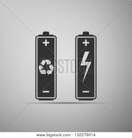 Battery with recycle symbol - renewable energy concept and renewable energy battery icon. Vector illustration