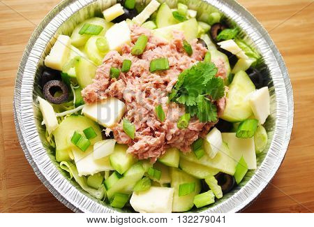 Salad with Canned Tuna Garnished with Fresh Parsley