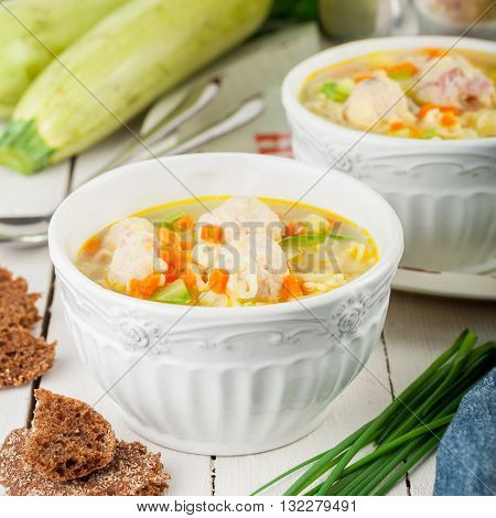 Summer Soup With Zucchini, Pasta And Meatballs