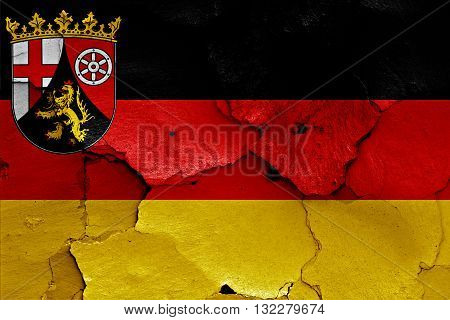 Flags Of Rhineland Palatinate And Germany Painted On Cracked Wall