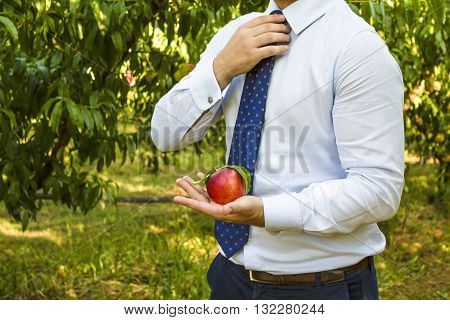 Businessman With Peach In His Hand