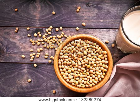 Glass of soy milk and full bowl of soy beans on wooden background. Top view