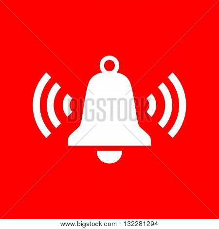 Ringing bell icon. White icon on red background.