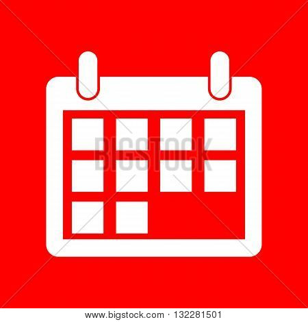 Calendar sign illustration. White icon on red background.