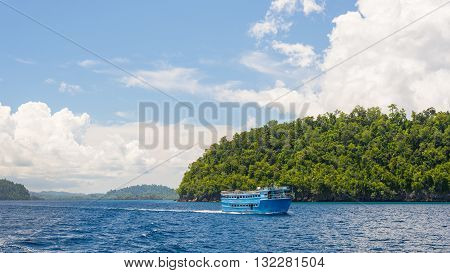 Obsolete wooden ferry boat carrying passenger to the scenic Togean (or Togian) Islands Central Sulawesi upgrowing travel destination in Indonesia.