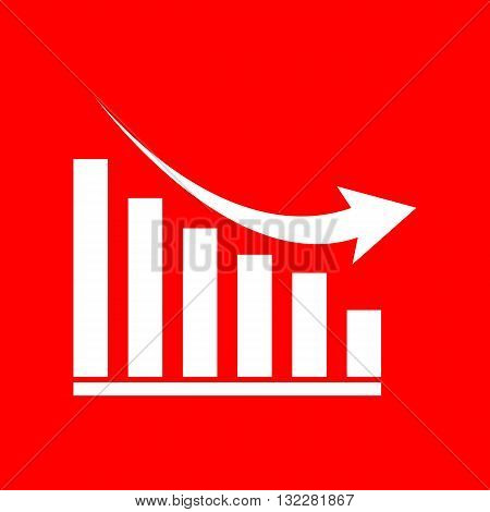 Declining graph sign. White icon on red background.