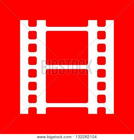 Reel of film sign. White icon on red background.