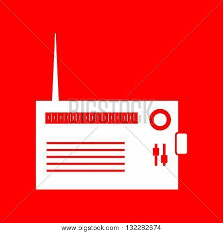 Radio sign illustration. White icon on red background.