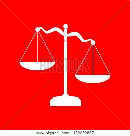 Scales of Justice sign. White icon on red background.