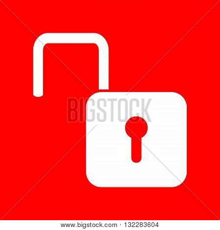 Unlock sign illustration. White icon on red background.