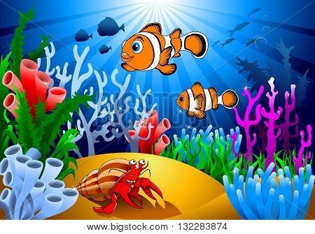 gold fish and starfish on the ocean floor including coral