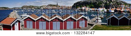 Yachts in a marina at the Swedish fishing village Fj�¤llbacka on the west coast, panorama