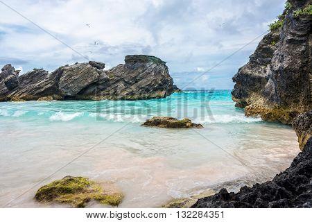 A rocky cove of Horseshoe Bay Beach in Bermuda.