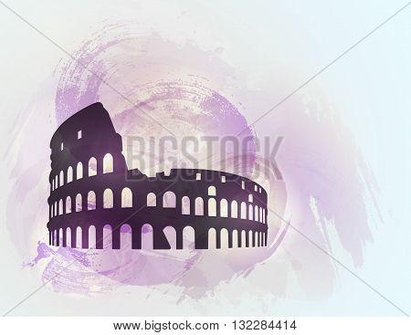 Coliseum ruin silhouette on colorful background. Coliseum sign. Tourism sight. Vector illustration.