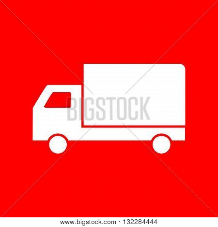 Delivery sign illustration. White icon on red background.