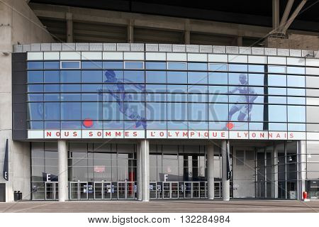 Lyon, France - March 21, 2016: Facade of The Parc Olympique stadium in Lyon. The Parc Olympique is a 60000 seat stadium for French football club Olympique Lyonnais and Euro 2016