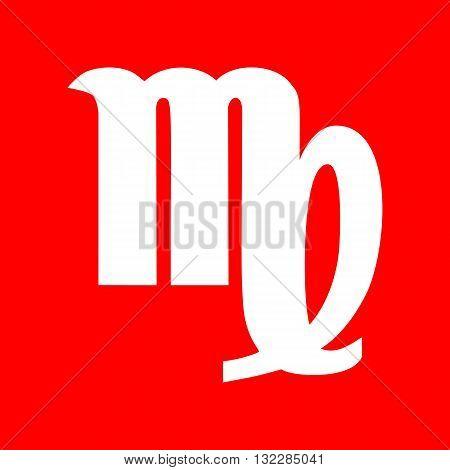 Virgo sign illustration. White icon on red background.