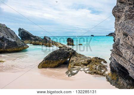 Interesting rock formations of Horseshoe Bay Beach in Bermuda.
