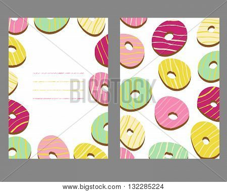 Sweet donut background with copy space area. Two side card. Doughnut pattern. Colorful texture. Grunge background. Illustration. Dessert postcard. Unhealthy but delicious.