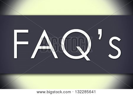 Faq's - Business Concept With Text