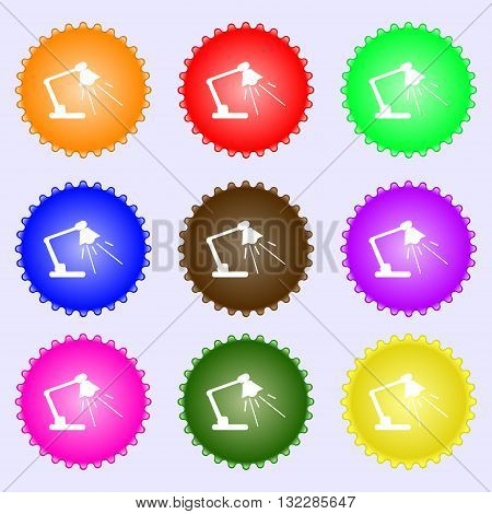 Reading-lamp Icon Sign. Big Set Of Colorful, Diverse, High-quality Buttons. Vector