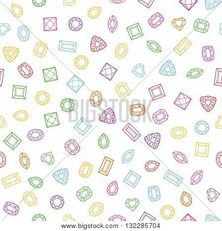 Diamond cut shapes. Seamless pattern. Heart, drop, emerald, oval, round and other diamond cut shapes. Abstract hand drawn pattern with gemstones. White background. Colorful texture.