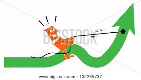 the man saddled the arrow and rides on it character person people vector