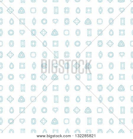 Diamond cut shapes. Seamless pattern. Heart, drop, emerald, oval, round and other diamond cut shapes. Abstract hand drawn pattern with gemstones. White background.