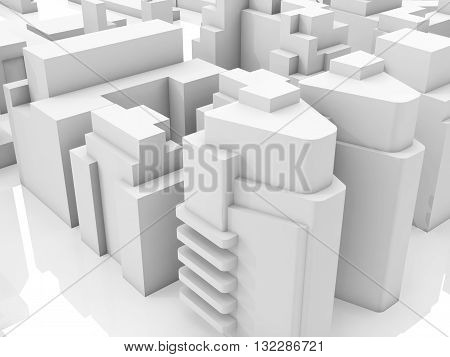 Abstract contemporary cityscape 3 d render illustration