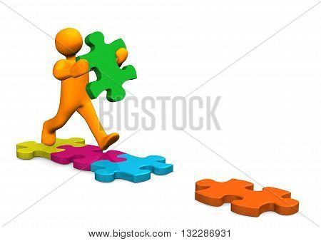 Manikin Running Puzzle Pieces