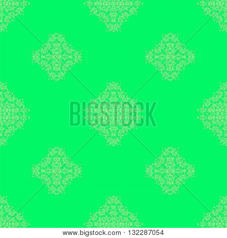 Seamless Texture on Green. Element for Design. Ornamental Backdrop. Pattern Fill. Ornate Floral Decor for Wallpaper. Traditional Decor on Green Background