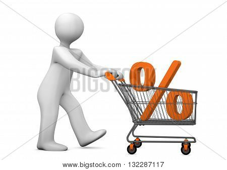 Mannikin Shopping Cart Percent
