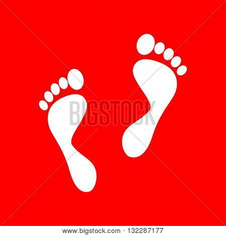 Foot prints sign. White icon on red background.