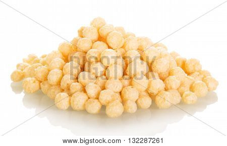 Corn crispy meals isolated on white background.