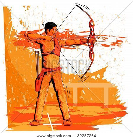 Concept of sportsman doing Archery. Vector illustration